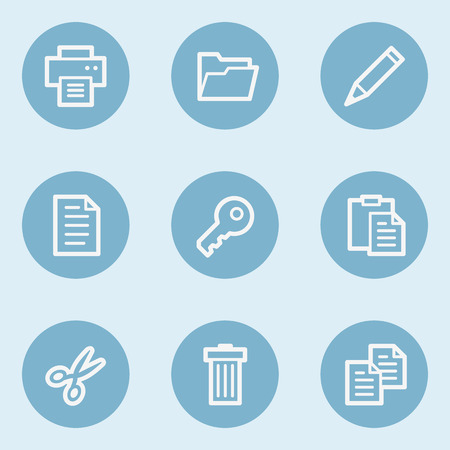 blue buttons: Document web icon set 1 ,  blue buttons Illustration