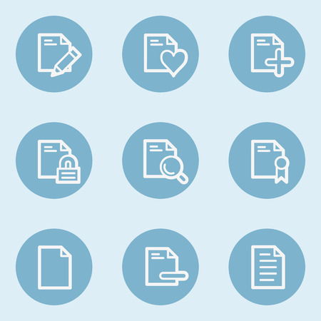 blue buttons: Document web icon set 2 ,  blue buttons Illustration