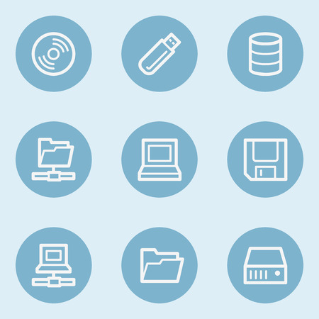 Drives and storage web icons,  blue buttons Illustration