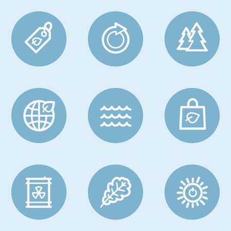 blue buttons: Ecology web icon set 3,  blue buttons Illustration
