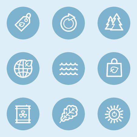 radioactive waste: Ecology web icon set 3,  blue buttons Illustration