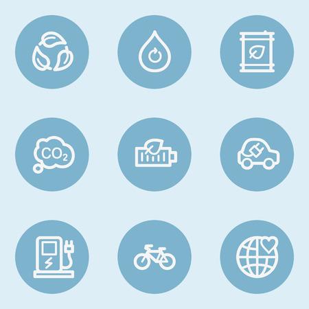 blue buttons: Ecology web icon set 4,  blue buttons