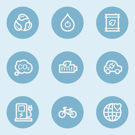 Ecology web icon set 4,  blue buttons