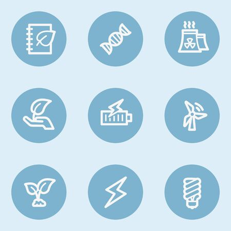 blue buttons: Ecology web icon set 5,  blue buttons
