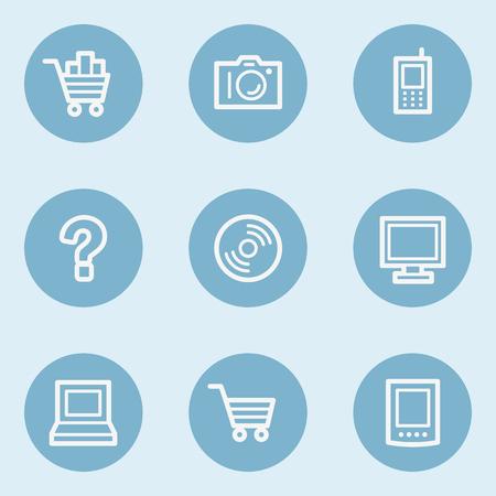 blue buttons: Electronics web icon set 1,  blue buttons