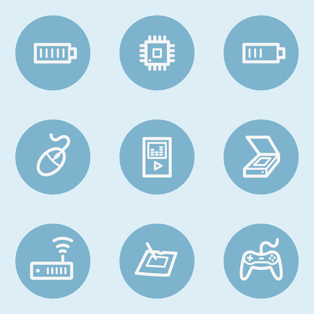 blue buttons: Electronics web icon set 2,  blue buttons Illustration