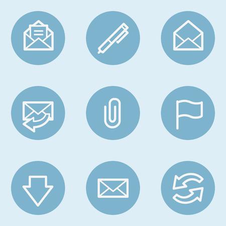 blue buttons: E-mail web icons,  blue buttons