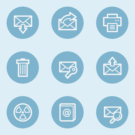 blue buttons: E-mail web icon set 2,  blue buttons
