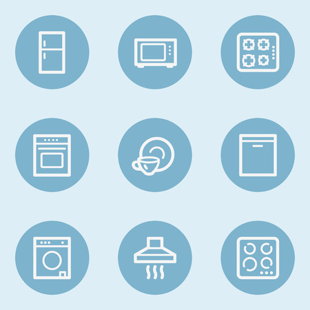 laundry washer: Home appliances web icons, blue buttons