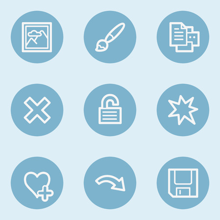preview: Image viewer web icon set 2,  blue buttons Illustration