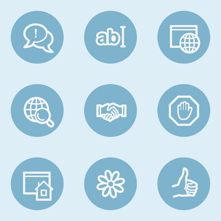 Internet  web icon set 1,  blue buttons Vector