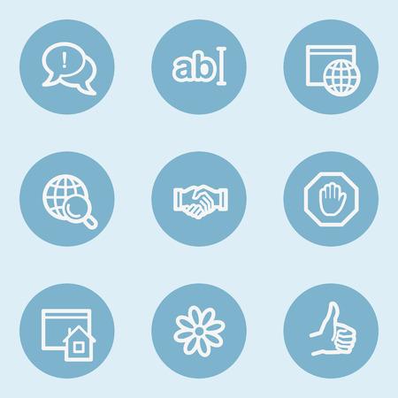 icq: Internet  web icon set 1,  blue buttons