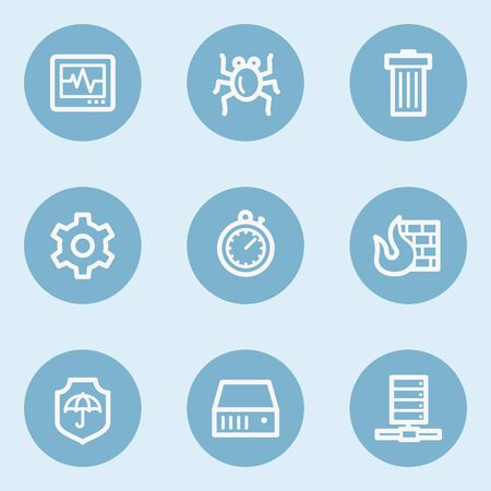 blue buttons: Internet security web icons , blue buttons Illustration
