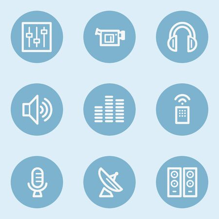 blue buttons: Media web icons , blue buttons Illustration