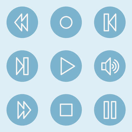 blue buttons: Media player web icons , blue buttons