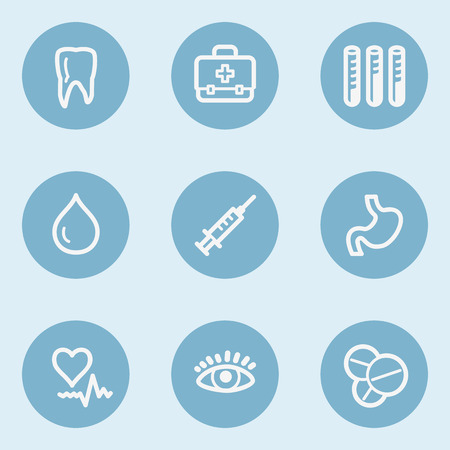 blue buttons: Medicine  web icon set 1, blue buttons