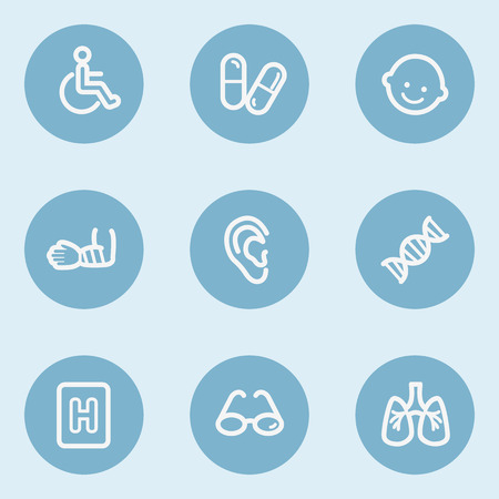 traumatic: Medicine  web icon set 2, blue buttons
