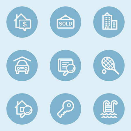 swimming pool home: Real estate web icons , blue buttons