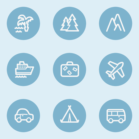 blue buttons: Travel  web icon set 1,  blue buttons