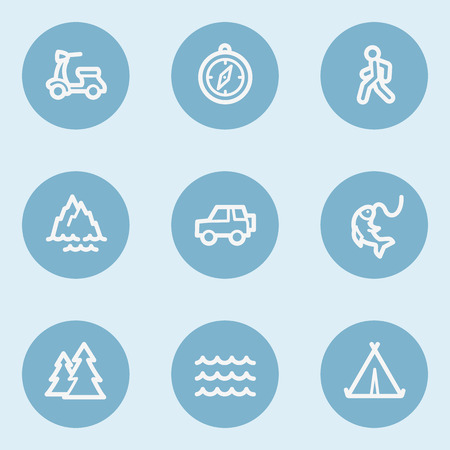 blue buttons: Travel  web icon set 3,  blue buttons