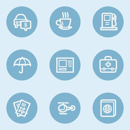 Travel  web icon set 4,  blue buttons Vector