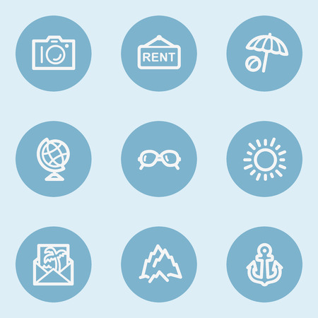 blue buttons: Travel  web icon set 5,  blue buttons Illustration