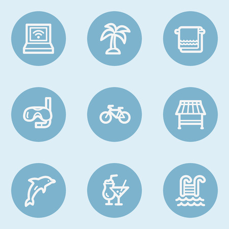web buttons: Vacation web icons , blue buttons Illustration