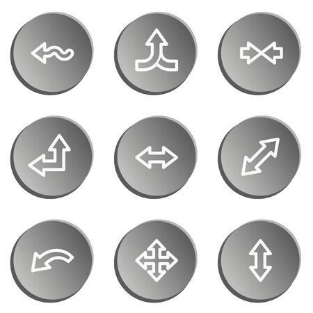 moving site: Arrows web icon set, grey stickers set Illustration