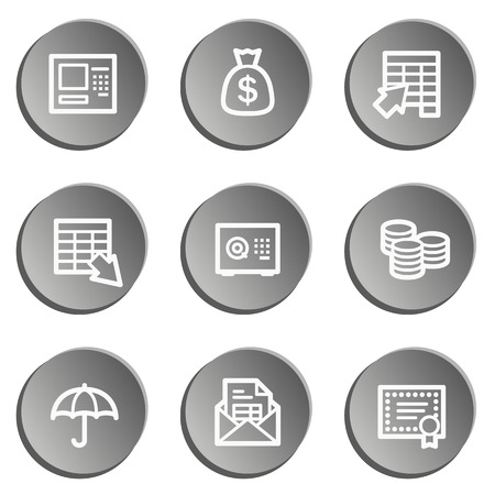 Banking web icons, grey stickers set Vector