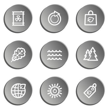 radioactive waste: Ecology web icon set, grey stickers set