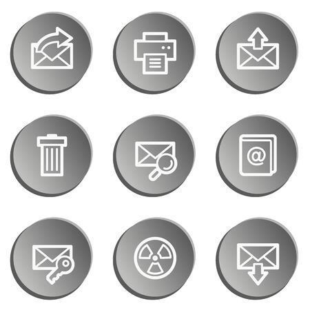 E-mail web icon set, grey stickers set Vector