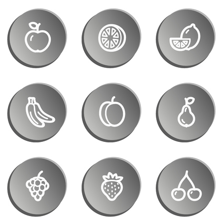 Fruits web icons, grey stickers set