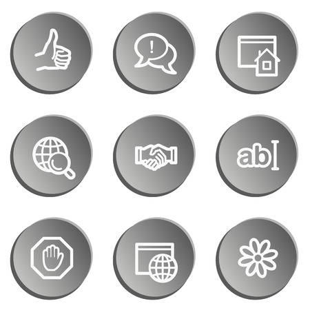 icq: Internet web icon set, grey stickers set Illustration