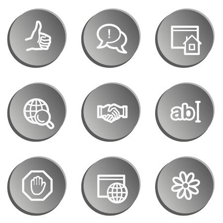 Internet web icon set, grey stickers set Illustration