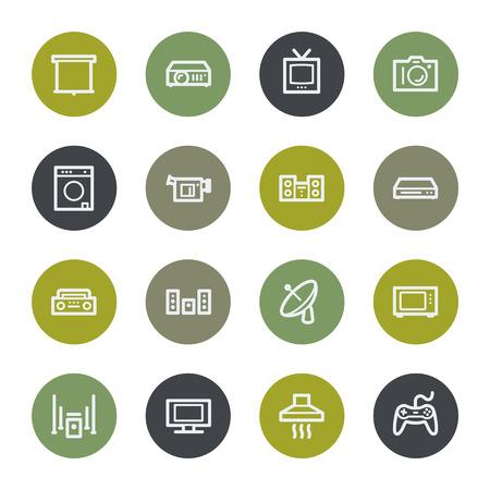 home appliances: Electrodom�sticos web iconos conjunto, botones de color Vectores