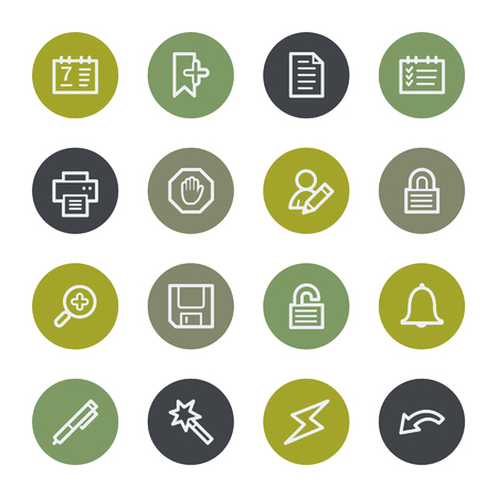 scheduler: Scheduler web icons set, color buttons