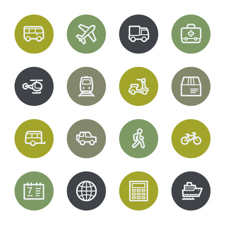 Transport web icons set, color buttons