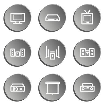 audio video: Audio video web icons, grey stickers set