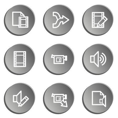 audio video: Audio video edit web icons, grey stickers set