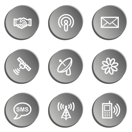 access point: Communication web icons, grey stickers set
