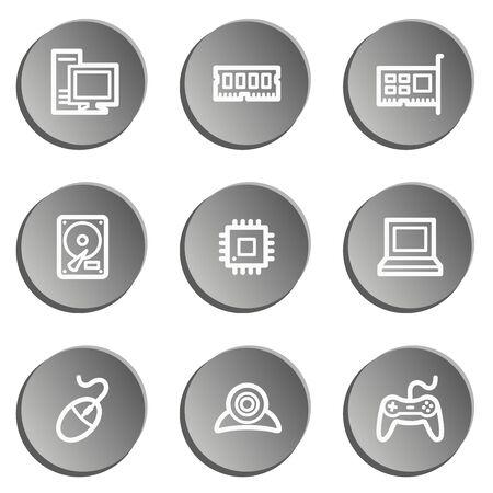 webcamera: Computer web icons, grey stickers set