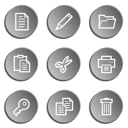 Document web icon set 1 , grey stickers set Vector