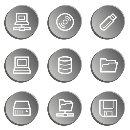 fdd: Drives and storage web icons, grey stickers set