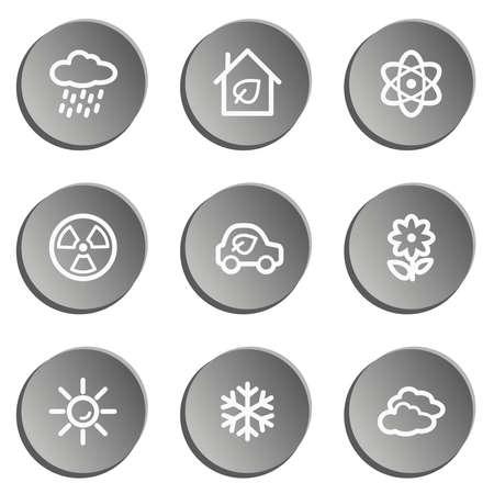 Ecology web icon set 2, grey stickers set Vector