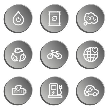 electro world: Ecology web icon set 4, grey stickers set