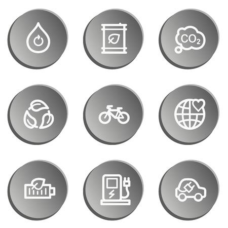 Ecology web icon set 4, grey stickers set