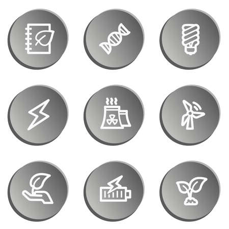 Ecology web icon set 5, grey stickers set Vector