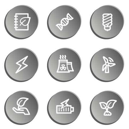 Ecology web icon set 5, grey stickers set Vector