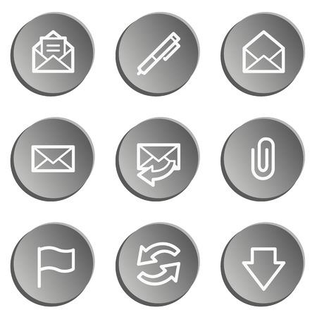 webmail: E-mail web icons, grey stickers set