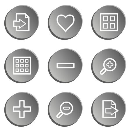Image viewer web icon set, grey stickers set Vector